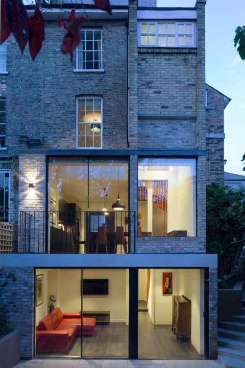 townhouse Richmond, London glass sliding doors